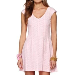 Lilly Pulitzer Briella Fit Flare White Pink Dress